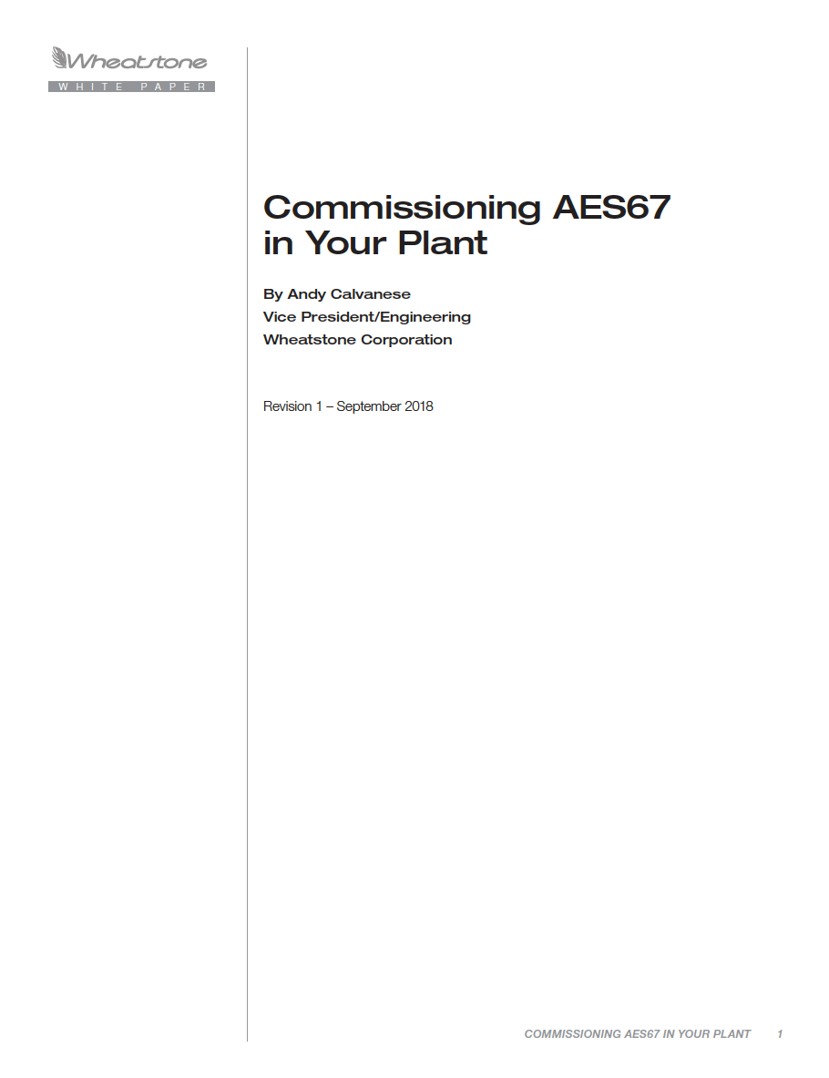 Commissioning AES67 White Paper
